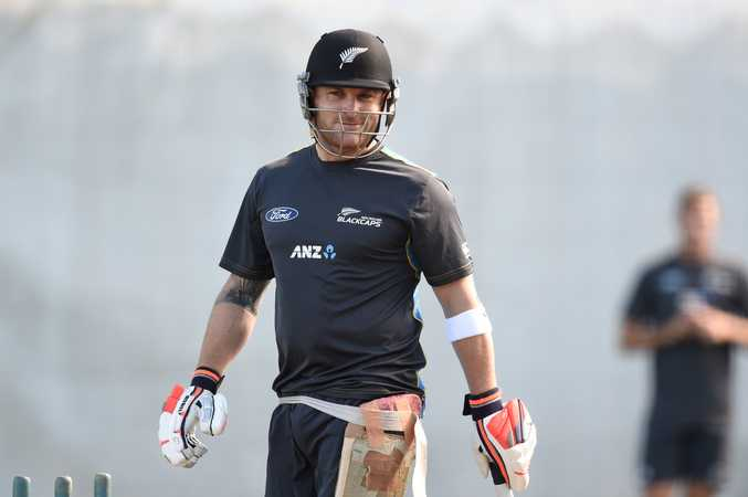 Brendon McCullum in the nets yesterday. Photo AAP Image.