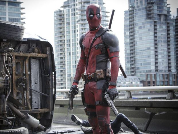 Ryan Reynolds in a scene from the movie Deadpool.