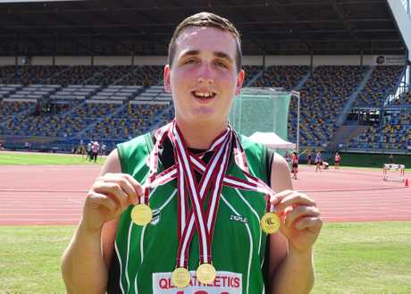 Ipswich and District Athletics Club thrower Zac Caterson won four events at the 2016 Queensland junior championships. Photo: Contributed