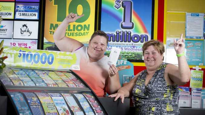 Gladstone Newsagency owner Lyn Doyle and manager Renee Steinhardt sold a first division lotto ticket to Wednesday's $1m draw.Photo Paul Braven / The Observer