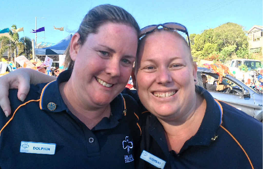 Gympie Girl Guide leaders Kaz Livermore and Angela Narayan.