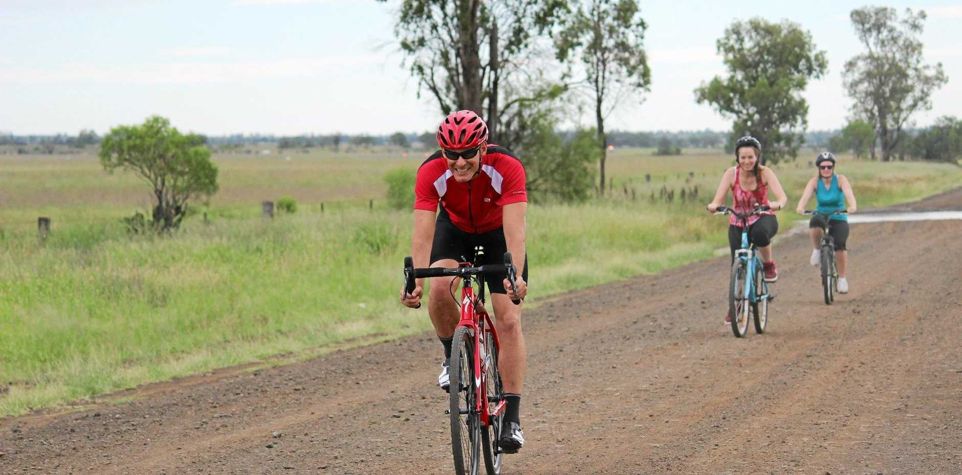 STAYING HEALTHY: Boobook's Scott Akins-Sellar on one of his cycling runs.