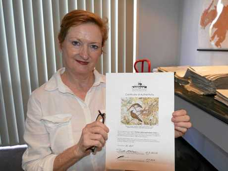 Grafton florist Annette Brotherson only has the certificate of authenticity for Southern Figbirds after losing the print during the move from her shop in Prince St on February 7.Photo Tim Howard / Daily Examiner