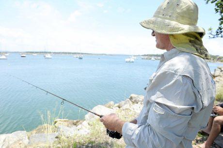 David Herdon of Tamworth is fishing at Iluka Bay on Saturday the 9th January, 2016. Photo Debrah Novak / The Daily Examiner
