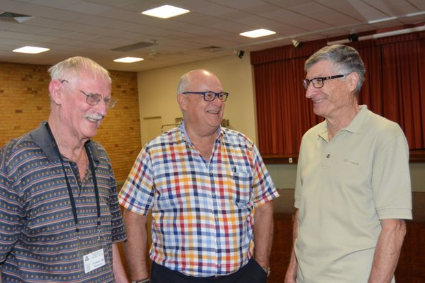 IN TOUCH: Gold Coast retirees (from left) Graham Pill, Rob Grover and Lance Tannock air their views about the upcoming council election.
