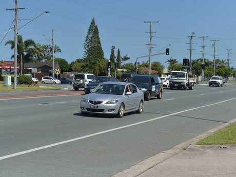Woman with pram was hit while crossing the northbound lanes of Nicklin Way at Warana, north of the 7-Eleven servo and opposite a fish and chip shop. It was about 80m from the intersection with Palkana Dr.