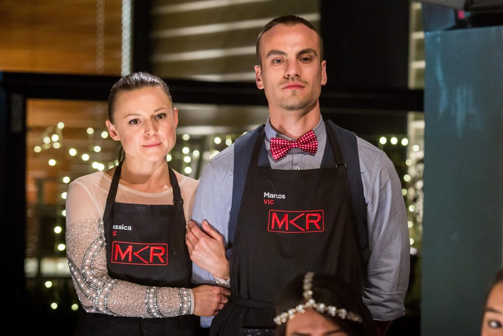 My Kitchen Rules contestants Jessica and Marcos pictured during their instant restaurant in Melbourne.