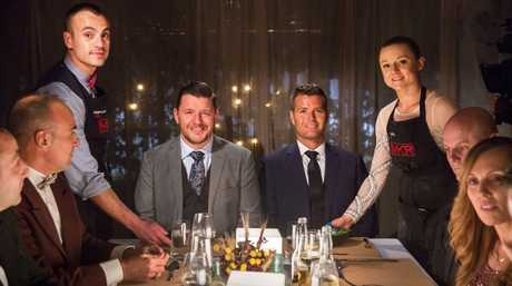 My Kitchen Rules contestants Jessica and Marcos serve their main course to judges Manu Feildel, second from left, and Pete Evans.