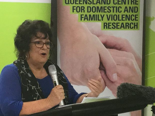 DVConnect CEO Di Mangan at the CQUni domestic violence post-graduate course launch and Centre for Domestic and Family Violence Research funding announcement.