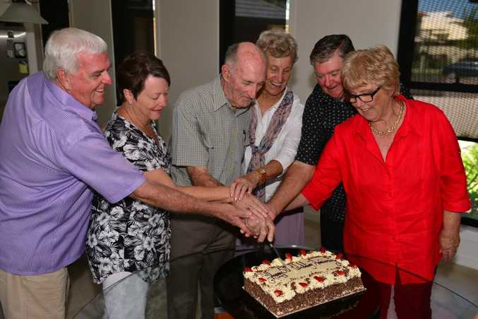 GOLDEN COUPLES: Three couples, all neighbours, are celebrating 50 years of marriage: Brendon and Margaret Carland, Robert and Judith Whitelaw and Bruce and Barbara Albury.