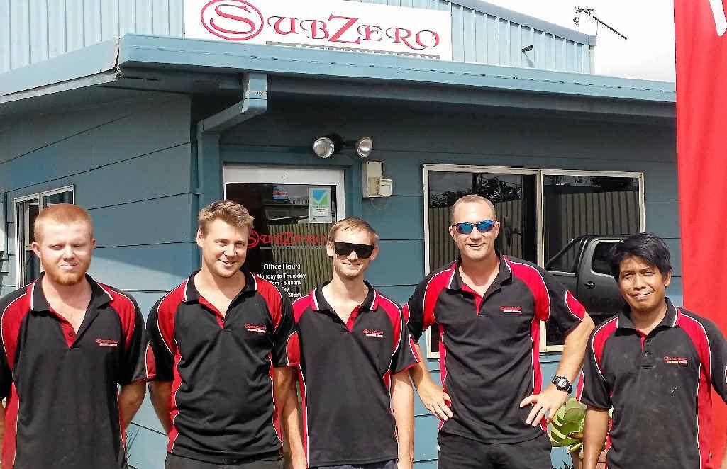 THE LOCAL BLOKES: The team at Sub Zero Mechanical Support at Moranbah Tom Baynton, Wade Humphreys, Maison O'Neill, Warren Allen and Samson.