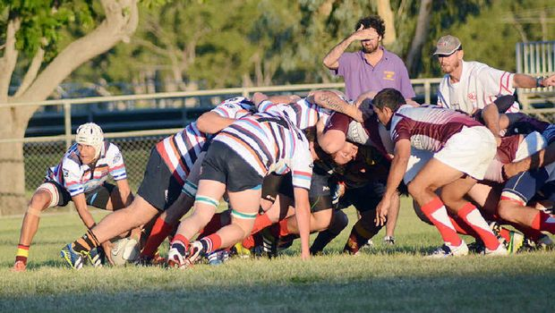 ON THE MOVE: Bushwackers scrum half Andre Joubert fires the ball out the back of the pack.