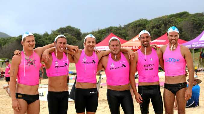Cudgen SLSC's Luke Chaffer, Angus McPhail, Scott McCartney, Jarrad Cain, Rohan Small and Jake Vickery competing at South West Rocks earlier this month.