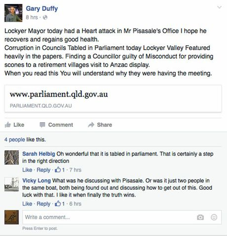 A screenshot of Gary Duffy's Facebook page with the remarks about Lockyer Valley Mayor Steve Jones.