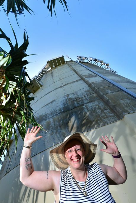 Janette Hooson at the Pt Cartwright Reservoir before it gets painted. Photo: John McCutcheon / Sunshine Coast Daily