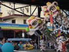 Crowds gathered to see the lion dancers, a new act at the Mackay Chinese new year celebrations. Photo: Emily Smith
