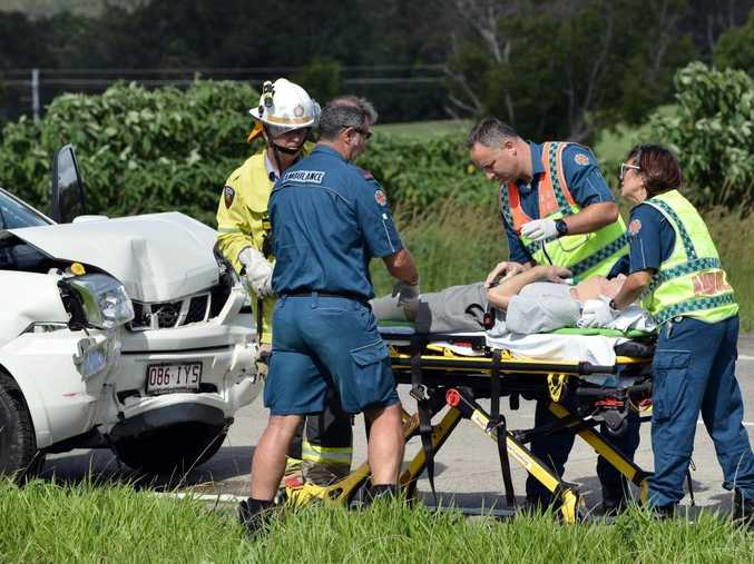 CRASH: A white Nissan X-Trail crashed into the rear of a B-Doulbe semi-trailer on the Bruce Highway (north lanes) just south of the Yandina Bli Bli Road. The male driver of the Nissan was taken to hospital. Photo Patrick Woods / Sunshine Coast Daily