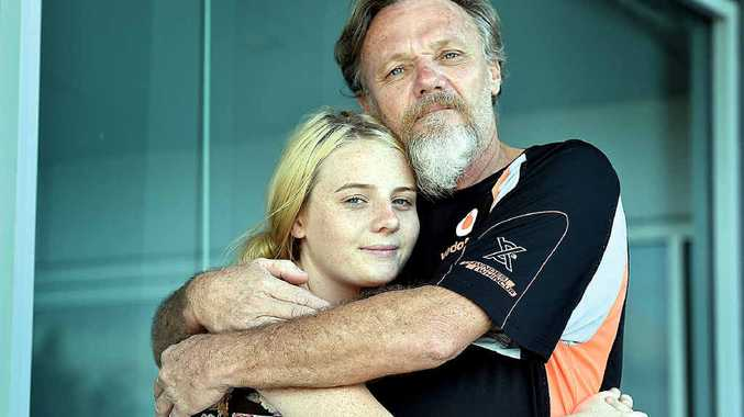HOME AT LAST: Andrew Jubb is back in Hervey Bay after being detained on Christmas Island. Reunited with his daughter Jade, 15.