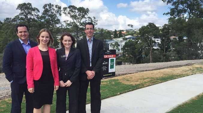 COMMUNITY GROWS: Ben Brotherton, Layna Stephens, Hayley Wighton and Nick Kostellar at a new land release at Brookwater.
