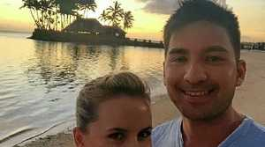 Catherine Matheson and fiance Sean Lim in Fiji before the cyclone hit.