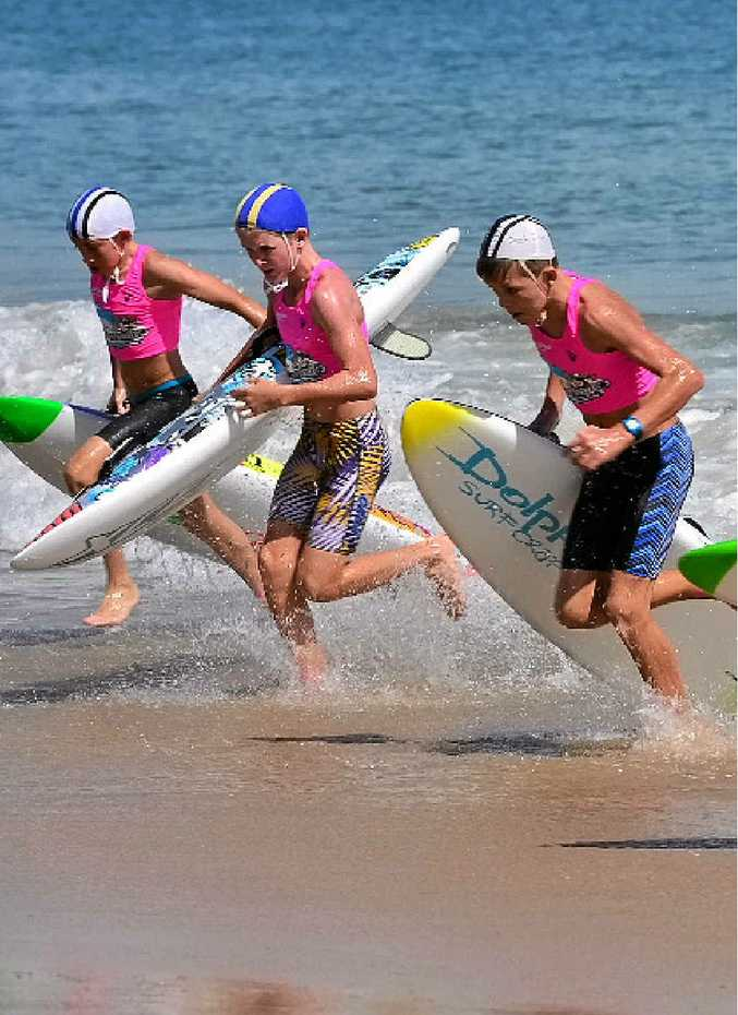 KEEN KIDS: Young Wave Warriors battle it out at Mooloolaba Spit yesterday.