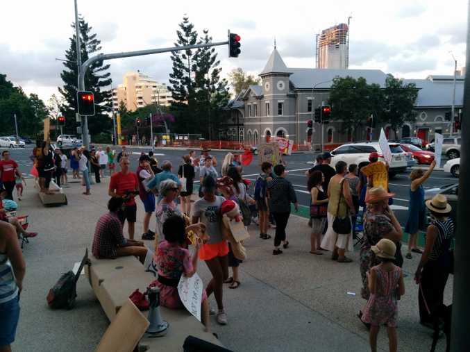 Protestors outside the Lady Cilento Hospital.