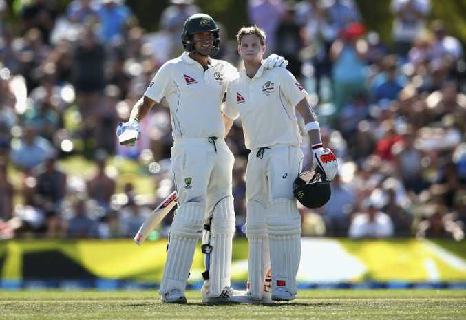 Steve Smith and Joe Burns dominated on day two of the second Test. Photo: AAP Image.
