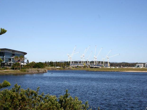 Entrance Island at Lake Kawana, Birtinya, looking toward the Sunshine Coast University Public Hospital.