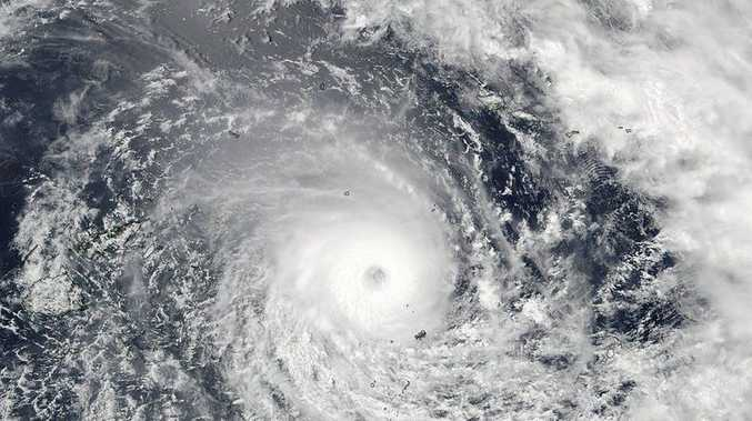 A supplied image obtained Saturday, Feb. 20, 2016 of major tropical cyclone Winston in the South Pacific Ocean.