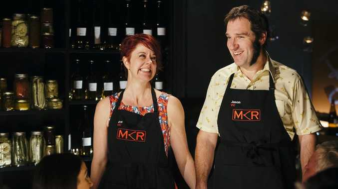 My Kitchen Rules contestants Eve and Jason pictured during their instant restaurant in Victoria.