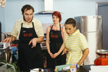 Judge Rachel Khoo visits Jason and Eve in the kitchen during their instant restaurant.