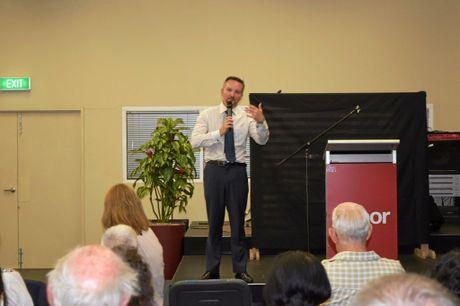 BIG TALKS: Shadow Treasurer Chris Bowen at a Banora Point forum on Friday.