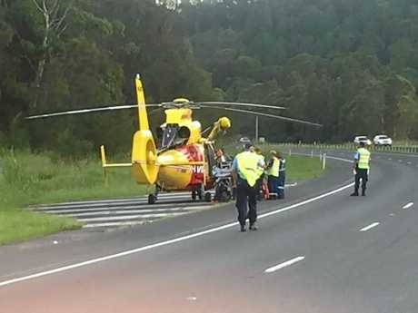 A German man is critical after a car rolled over at Chinderah on Saturday afternoon.