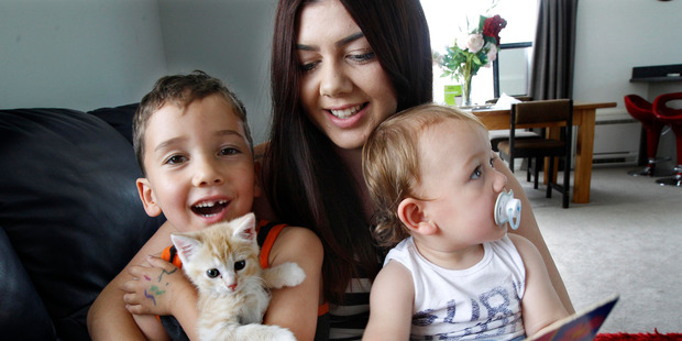 Kim Haugh gave birth to Jeziah (left) on the day of the quake and Levi exactly four years later.