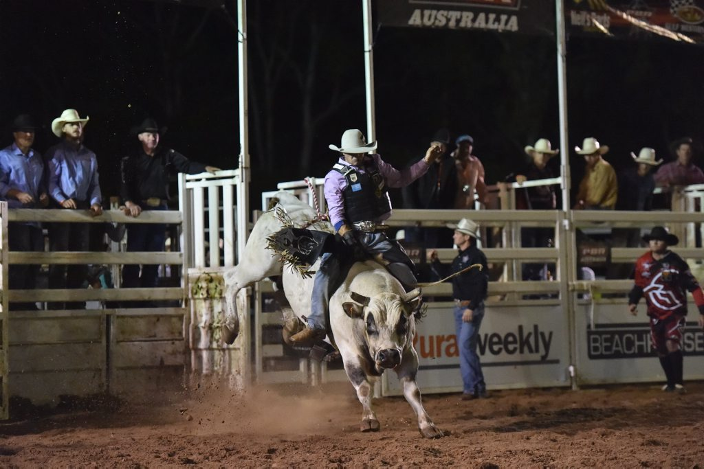 HEAPS OF ACTION: Professional Bull Riding Tour Live Series is at Pialba's Seafront Oval on Saturday. Gates open at 5pm for the 7pm show.
