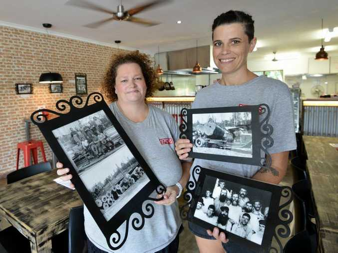 New owners Lesley Bruckshaw and Renae Pardon-Smith of Depot 45 pizzeria are committed to reflecting the sawmilling history of Maroochy Waters. Their pizzas are named after founding families of the area and they have old photograhs up and around the place. Photo Patrick Woods / Sunshine Coast Daily