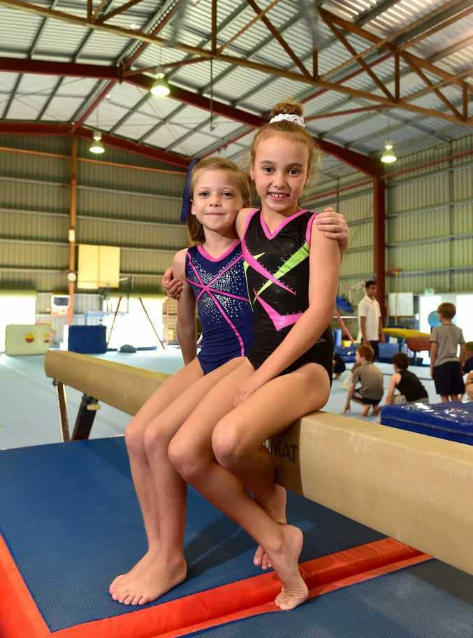 Maroochy Beach Gymnastics is holding a 'boost our future' campaign. (from left) Ruby Williams, 6 and Haileigh Campbell, 7. Photo: Che Chapman / Sunshine Coast Daily