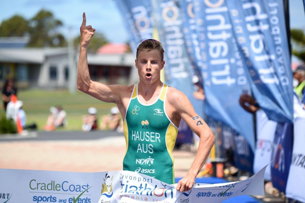 Matt Hauser wins the third stage of the SCODY Australian Junior Triathlon Series in Devonport, Tasmania. Photo Contributed / Delly Carr