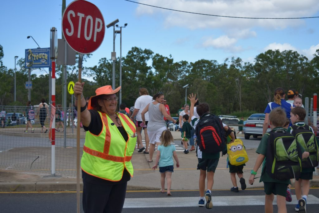 Cheryle Naylor has been the lollipop lady at Clinton State School for 20 years. Photo Campbell Gellie / The Observer
