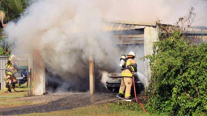 Fire in Franklin Street, Camira, on Tuesday morning. Photo: Bob Thomas