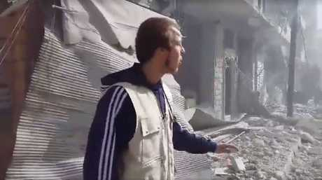 Oliver Bridgeman among the ruins of Aleppo after a Russian airstrike. Photo Contributed