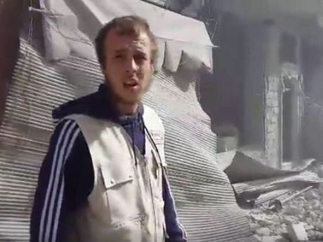Oliver Bridgeman among the ruins of Aleppo after a Russian airstrike.