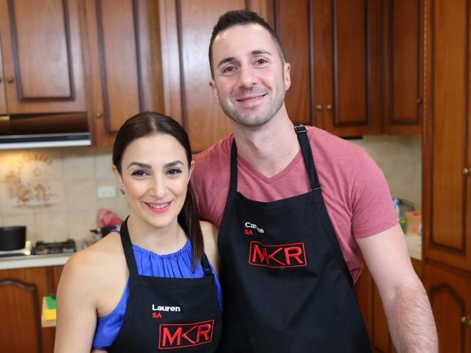 My Kitchen Rules contestants Lauren and Carmine pictured during their instant restaurant in Adelaide.