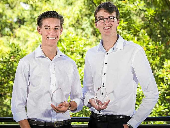 ACHIEVERS: QCE Achievement Award winners Lachlan Mckay and Corey Lehmann.