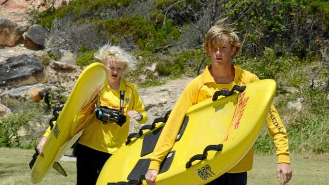 Young surf lifesavers from the Evans Head-Casino Club, Aidan Yourell, 16 left, and Jacob Harcourt, 15, respond to a call out at Shark Bay.