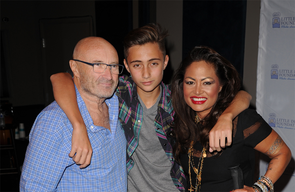 Phil Collins, Orianne Cevey and their son Nicholas.