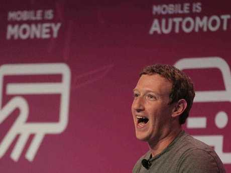Facebook CEO Mark Zuckerberg speaks during a conference at the Mobile World Congress wireless show in Barcelona, Spain, Monday, Feb. 22, 2016.