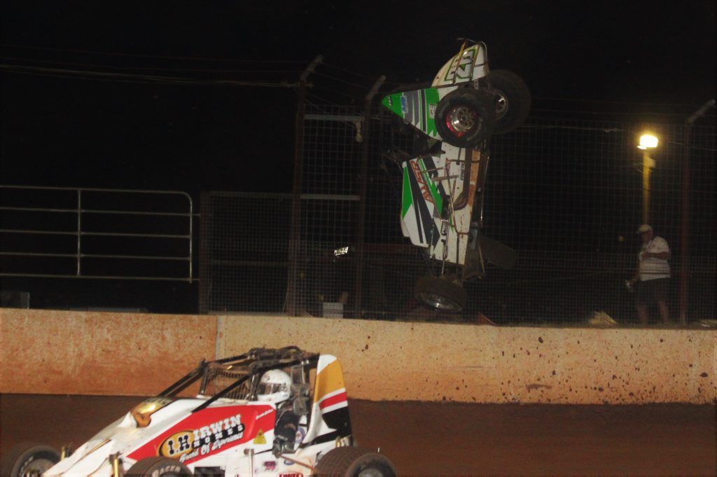 FLIP: Dan Moes gets airborne in the Formula 500 race at the Carina Speedway on February 20.