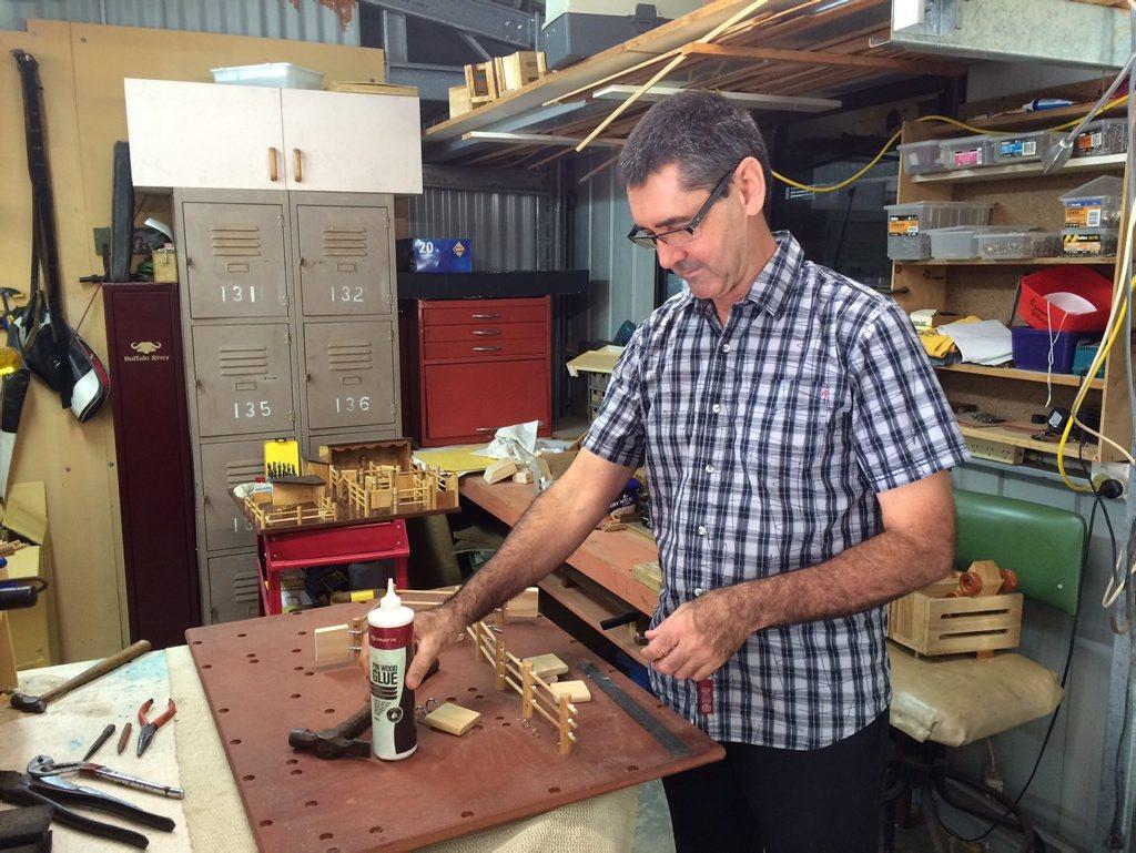 Barry Shefe draws on his farming experience when making farm yard toys.