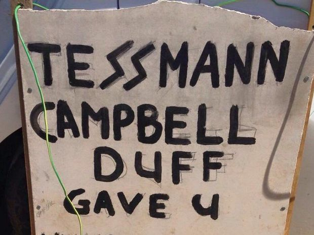 Councillor Damien Tessmann condemned an anti-council sign he saw in Wondai. Photo Contributed